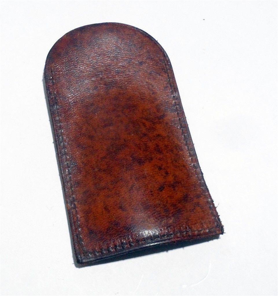 4fd6a3a29411 Vintage Shoe Horn in Leather Case Motto Tooled Embossed May I Help 1930s  Squirrel Acorn Travel